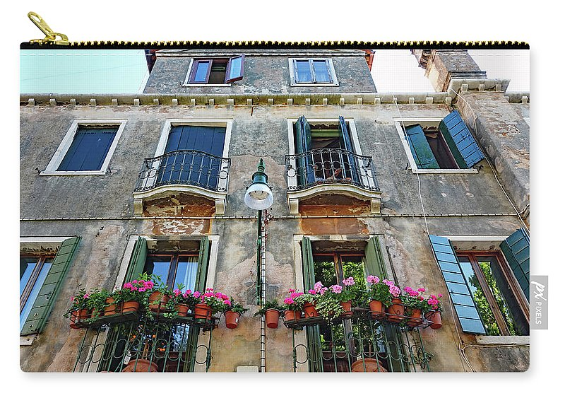 Shutters Carry-all Pouch featuring the photograph Balcony With Flowers In Venice, Italy by Richard Rosenshein