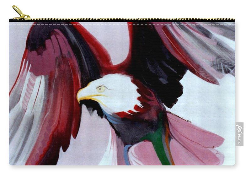 Birds Carry-all Pouch featuring the painting Bald-e by Marlene Burns