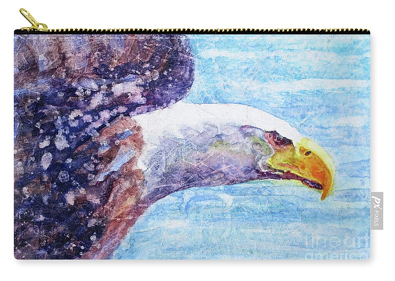Bald Eagle In Flight Carry-all Pouch featuring the painting Bald Eagle Portrait 2 by Bonnie Rinier