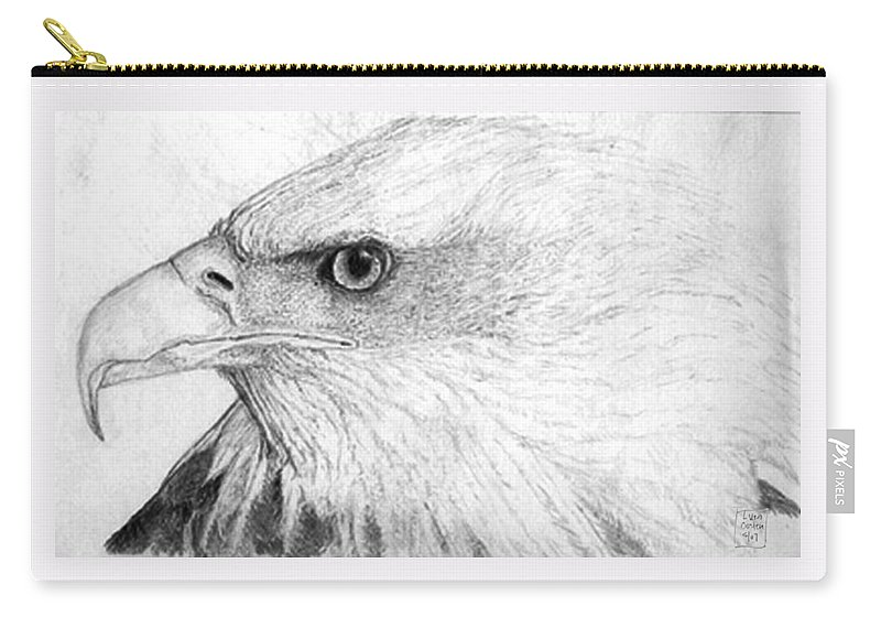 Pencil Drawing Carry-all Pouch featuring the drawing Bald Eagle Profile by Lucien Van Oosten