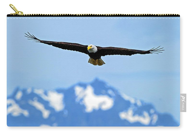 Hood Carry-all Pouch featuring the photograph Bald Eagle Soars Over Hood Canal by Gary Langley