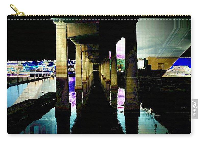 Seattle Carry-all Pouch featuring the digital art Ballard Bridge by Tim Allen