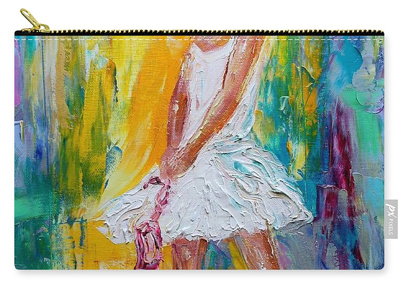 Ballerina Carry-all Pouch featuring the painting Ballerina Before The Dance by Karen Tarlton