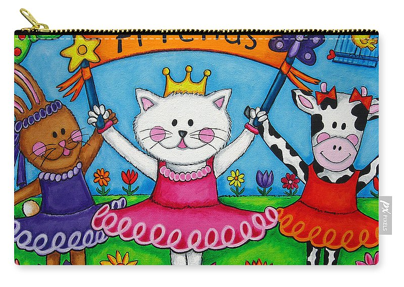 Kitten Carry-all Pouch featuring the painting Ballerina Friends by Lisa Lorenz