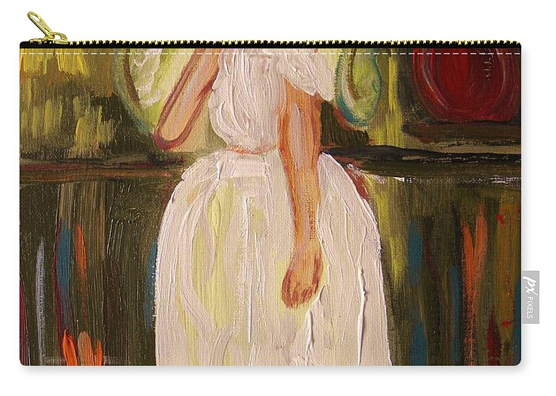Acrylic Carry-all Pouch featuring the painting Ballerina Preparation by Mary Carol Williams