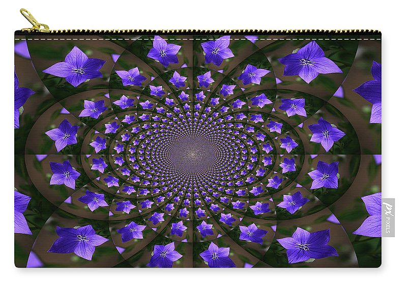 Balloon Flower Carry-all Pouch featuring the photograph Balloon Flower Kaleidoscope by Teresa Mucha