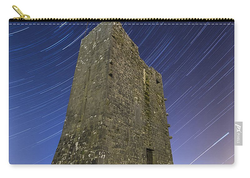 Landscape Carry-all Pouch featuring the photograph Ballybrit Castle Star Trails by Richard Peyton