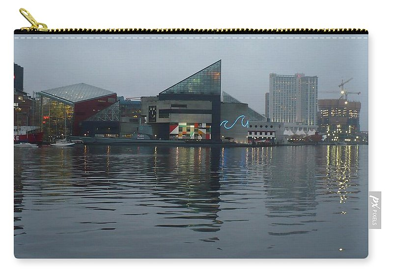 Baltimore Carry-all Pouch featuring the photograph Baltimore Harbor Reflection by Carol Groenen