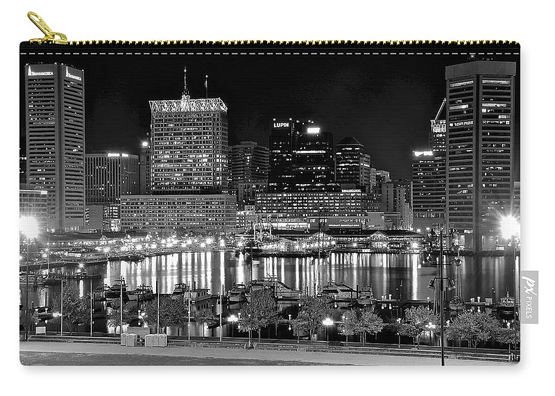 Baltimore Carry-all Pouch featuring the photograph Baltimore Lights Up Brightly by Frozen in Time Fine Art Photography