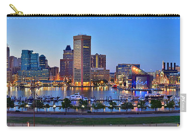 Baltimore Inner Harbor Skyline Carry-all Pouch featuring the photograph Baltimore Skyline Inner Harbor Panorama At Dusk by Jon Holiday