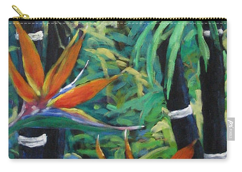 Bamboo Carry-all Pouch featuring the painting Bamboo And Birds Of Paradise by Richard T Pranke