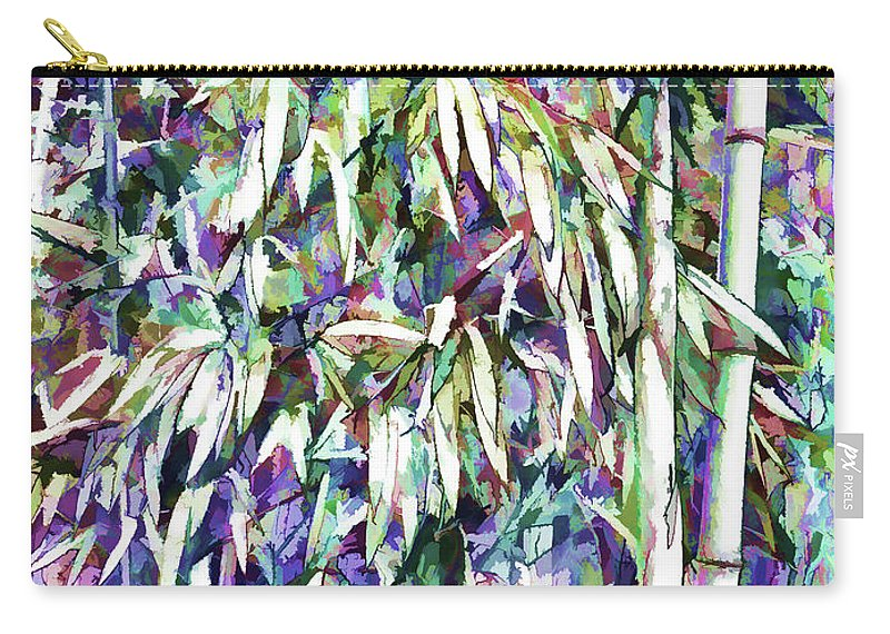 Bamboo Forest Background Carry-all Pouch featuring the painting Bamboo Forest Background by Jeelan Clark