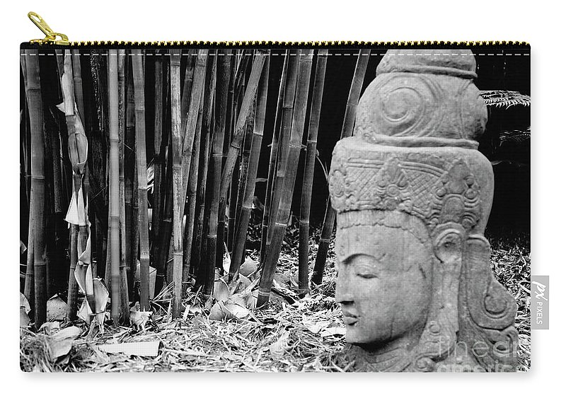 Landscape Carry-all Pouch featuring the photograph Bamboo Landscape Statue Asian by Chuck Kuhn