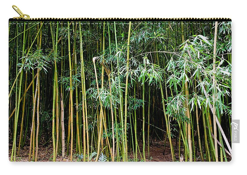Bamboo Wind Chimes Carry-all Pouch featuring the photograph Bamboo Wind Chimes Waimoku Falls trail Hana Maui Hawaii by Michael Bessler