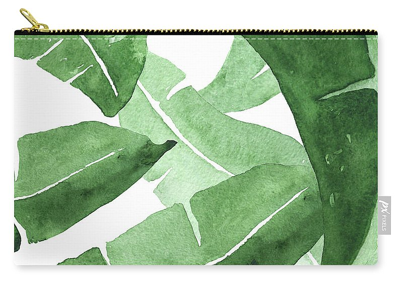 Banana Leaves Carry-all Pouch featuring the painting Banana Leaves 3 by Green Palace