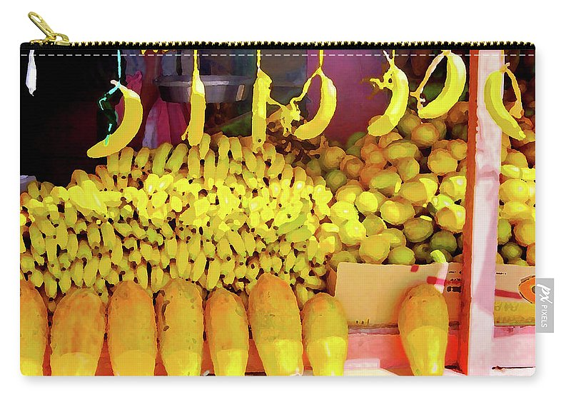 Yellow Carry-all Pouch featuring the photograph Bananas, Belize by Lila Bahl