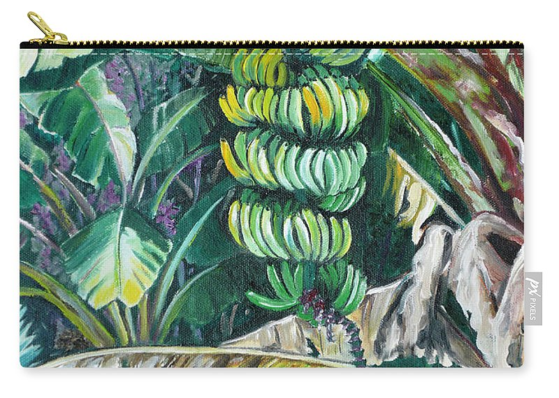 Caribbean Painting Bananas Trees P Painting Fruit Painting Tropical Painting Carry-all Pouch featuring the painting Bananas by Karin Dawn Kelshall- Best