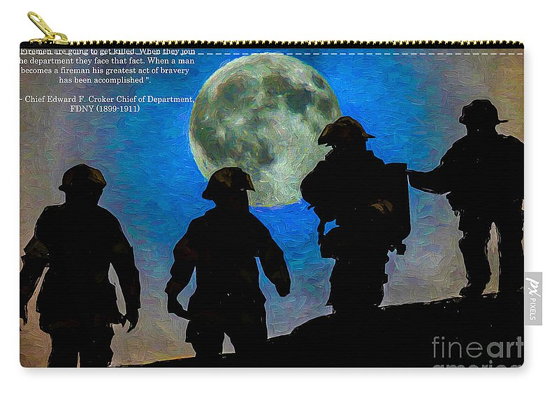 Fireman Carry-all Pouch featuring the digital art Band Of Brothers - Oil by Tommy Anderson