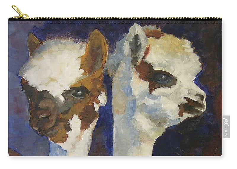 Alpacas Carry-all Pouch featuring the painting Bandolero And Carlos by Mary McInnis
