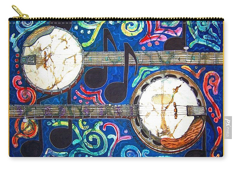Banjo Carry-all Pouch featuring the painting Banjos - Bordered by Sue Duda