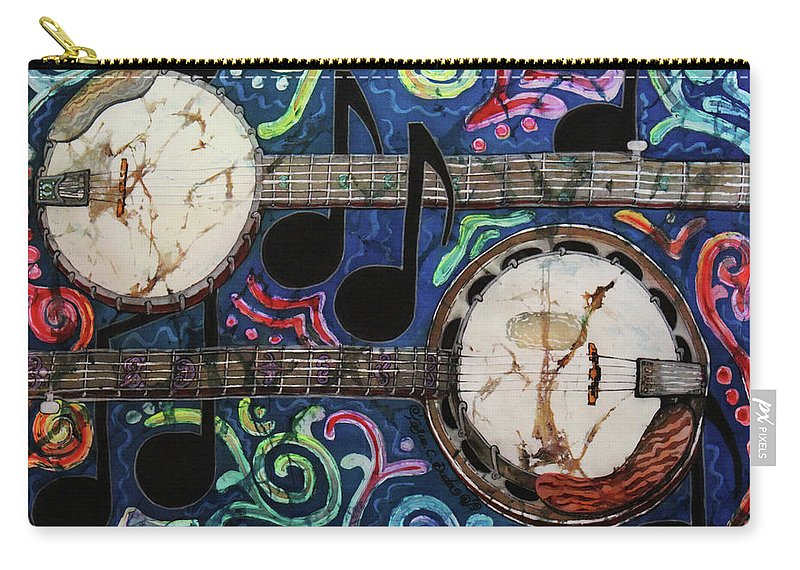 Banjos Carry-all Pouch featuring the painting Banjos by Sue Duda