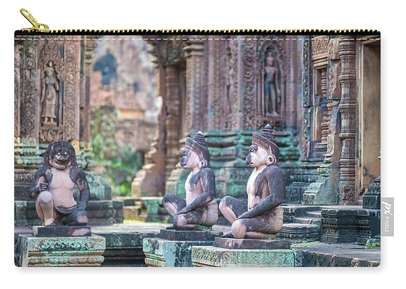 Sunrise Carry-all Pouch featuring the photograph Banteay Srey Temple Pink Monkeys by Mike Reid
