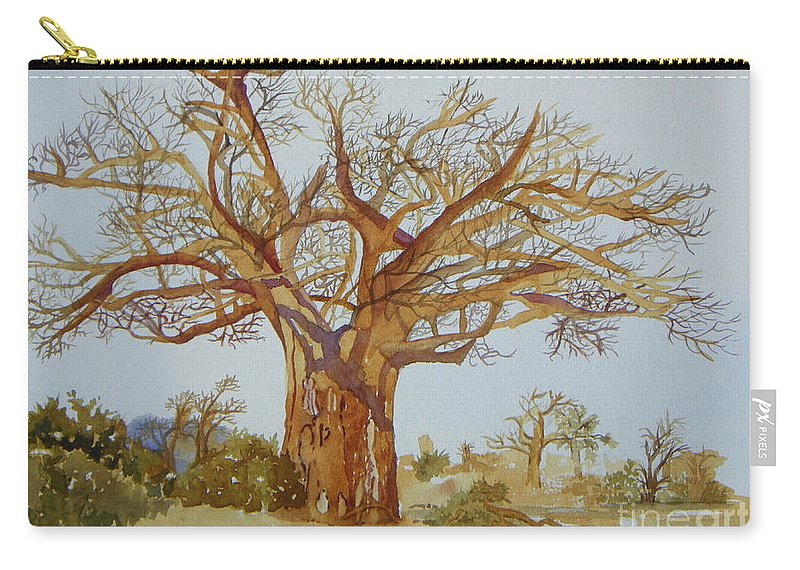 Baobab Tree Of Africa Carry-all Pouch featuring the painting Baobab Tree Of Africa by Lou Ann Overman