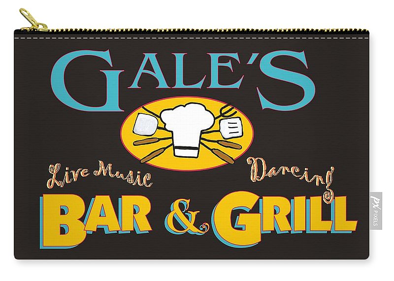 Bar And Grill Sign Carry-all Pouch featuring the painting Bar And Grill Sign by Priscilla Wolfe