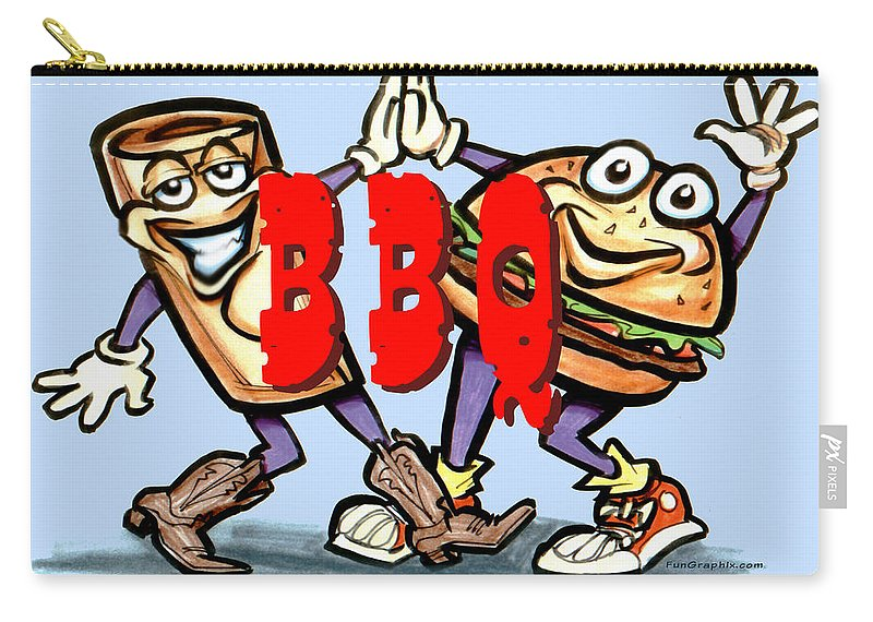 Bbq Carry-all Pouch featuring the greeting card Bar-B-Q by Kevin Middleton