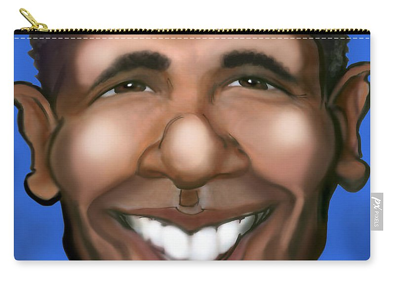Barack Obama Carry-all Pouch featuring the painting Barack Obama by Kevin Middleton