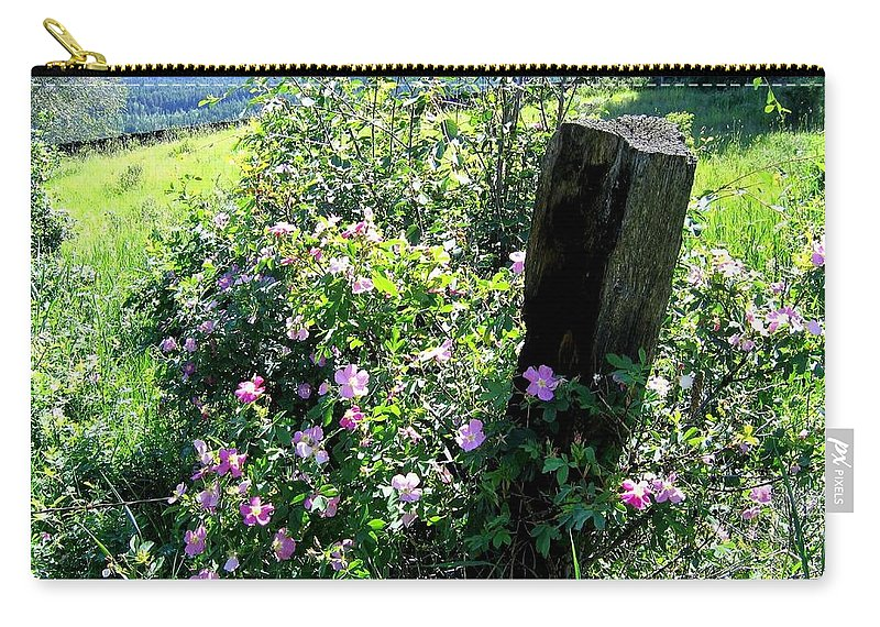 Wild Roses Carry-all Pouch featuring the photograph Barbed Wire And Roses by Will Borden