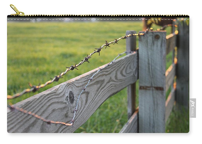 Barbed Wire Fence Carry-all Pouch featuring the photograph Barbed Wire by Lauri Novak