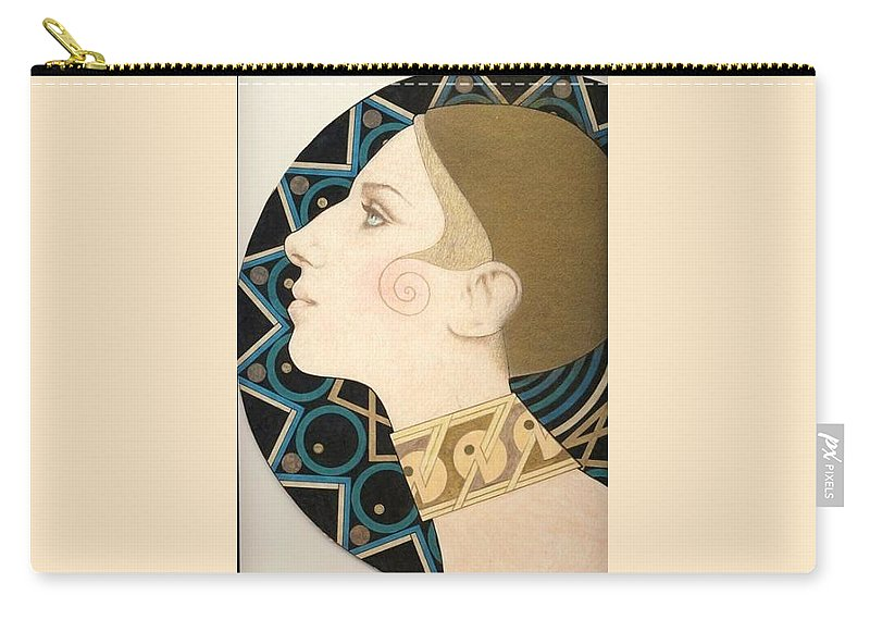 Barbra Streisand Carry-all Pouch featuring the drawing Barbra by Richard Laeton