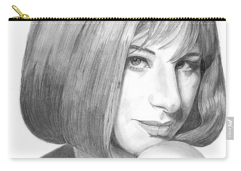 Singer Carry-all Pouch featuring the drawing Barbra Streisand by Rob De Vries