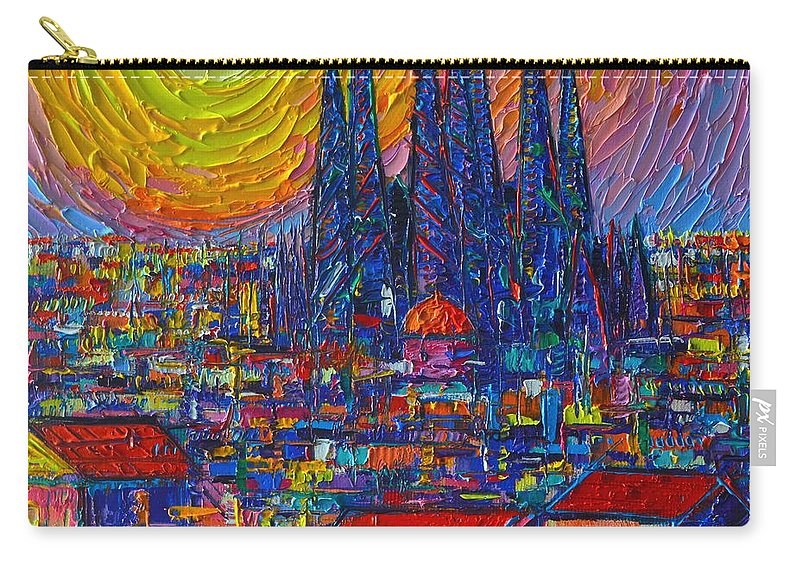 Barcelona Carry-all Pouch featuring the painting Barcelona Colorful Sunset Over Sagrada Familia Abstract City Knife Oil Painting Ana Maria Edulescu by Ana Maria Edulescu