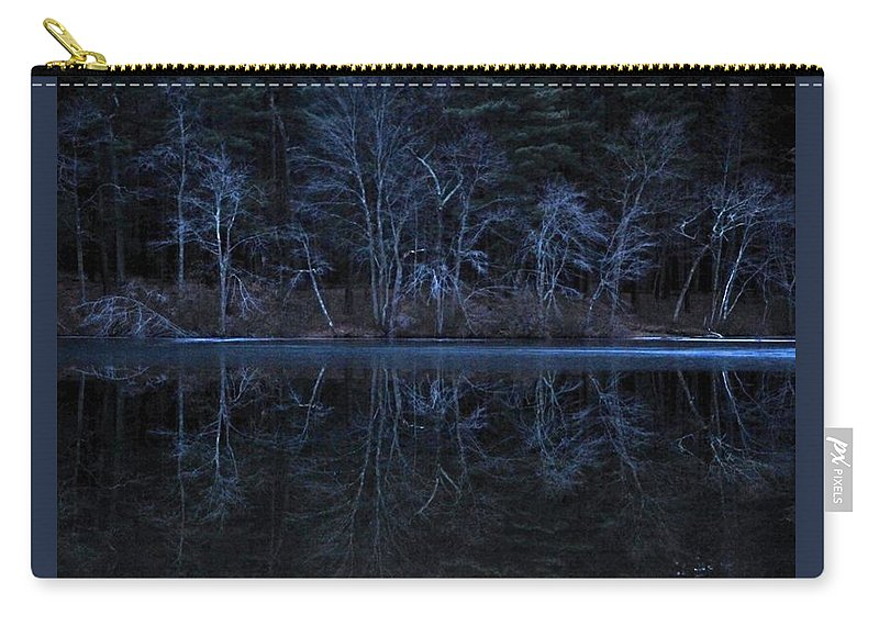 Houghtons Pond Canton Mass As Darkness Falls On A Cloudy Winter Afternoon. Carry-all Pouch featuring the photograph Bare Trees Reflected by Bill Driscoll