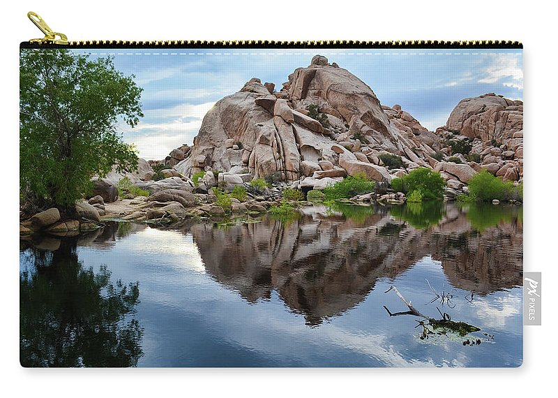 Joshua Tree Carry-all Pouch featuring the photograph Barker Dam Reflection by Kyle Hanson