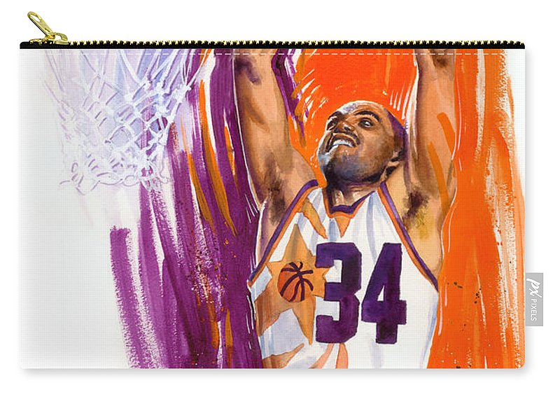 Charles Barkley Carry-all Pouch featuring the painting Barkley by Ken Meyer jr
