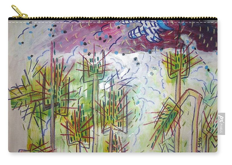 Barly Paintings Carry-all Pouch featuring the painting Barly And The Blue Moon by Seon-Jeong Kim