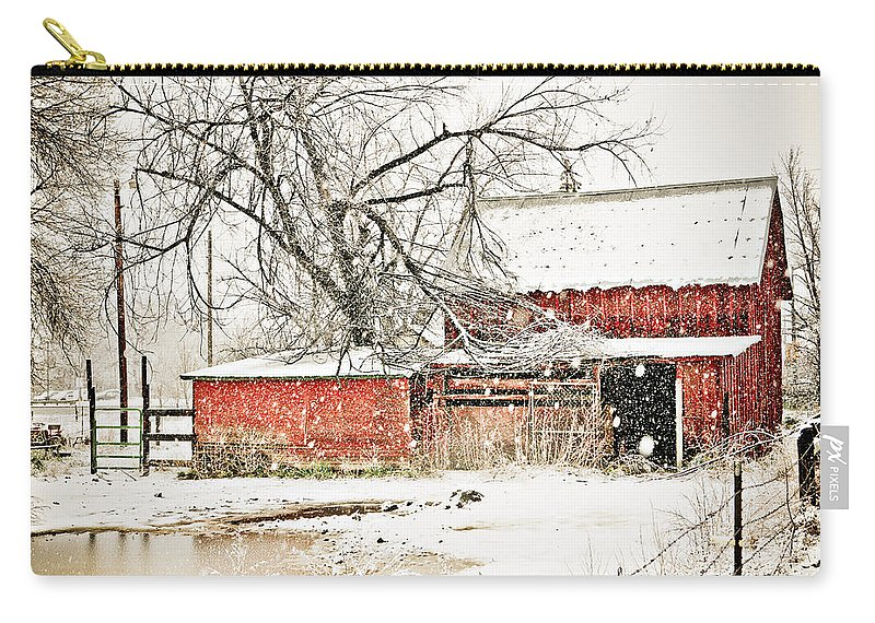 Americana Carry-all Pouch featuring the photograph Barn And Pond by Marilyn Hunt