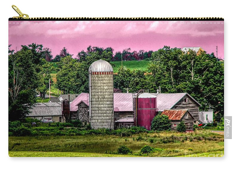 Barn And Silo With Infrared Touch Of Pink Effect Carry-all Pouch featuring the mixed media Barn And Silo With Infrared Touch Of Pink Effect by Rose Santuci-Sofranko