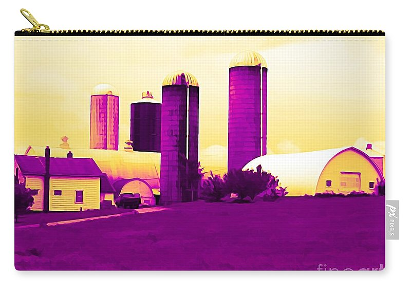 Barn And Silos Amertrine Effect Carry-all Pouch featuring the mixed media Barn And Silos Amertrine Effect by Rose Santuci-Sofranko