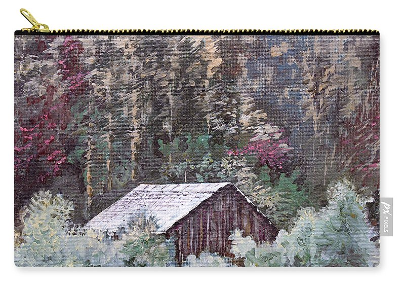 Landscape Carry-all Pouch featuring the painting Barn At Cades Cove by Todd Blanchard
