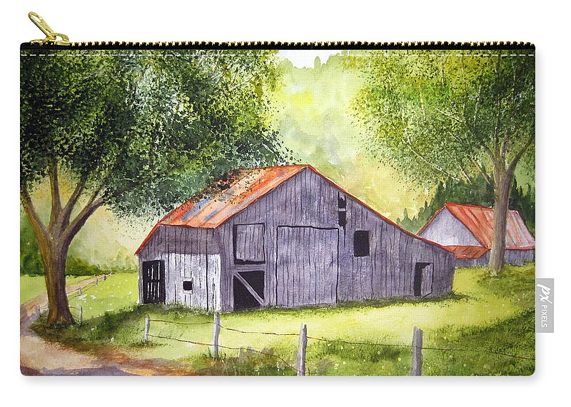 Nc Carry-all Pouch featuring the painting Barn By The Road by Julia RIETZ