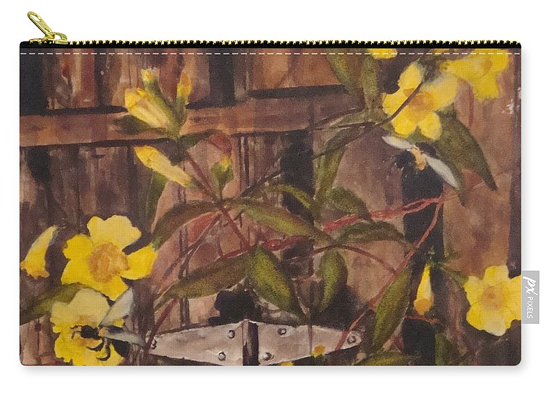 Flower Carry-all Pouch featuring the painting Barn Door Hinge by Jean Blackmer