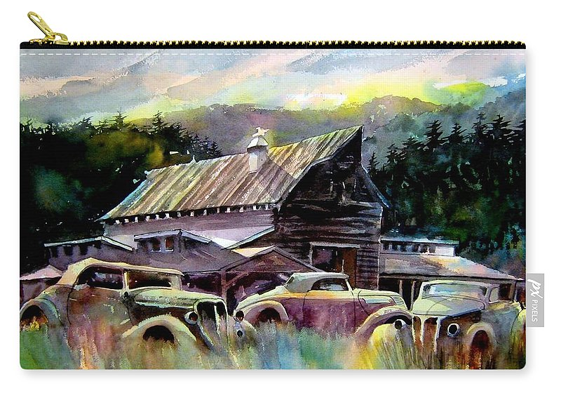 Barn Fresh Cabriolets 37 Fords...barn Carry-all Pouch featuring the painting Barn Fresh Cabriolets by Ron Morrison