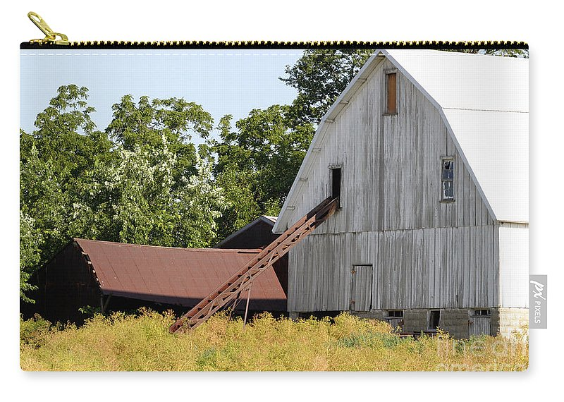 Rural Illinois Farm Buildings Homestead Barn Rustic Carry-all Pouch featuring the photograph Barn Lot by Alan Look