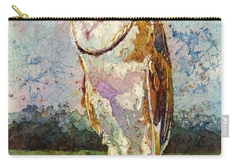 Owl Carry-all Pouch featuring the painting Barn Owl by Hailey E Herrera