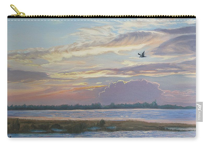 Sunset Painting Carry-all Pouch featuring the painting Barnegat Bay At Sunset by Lea Novak