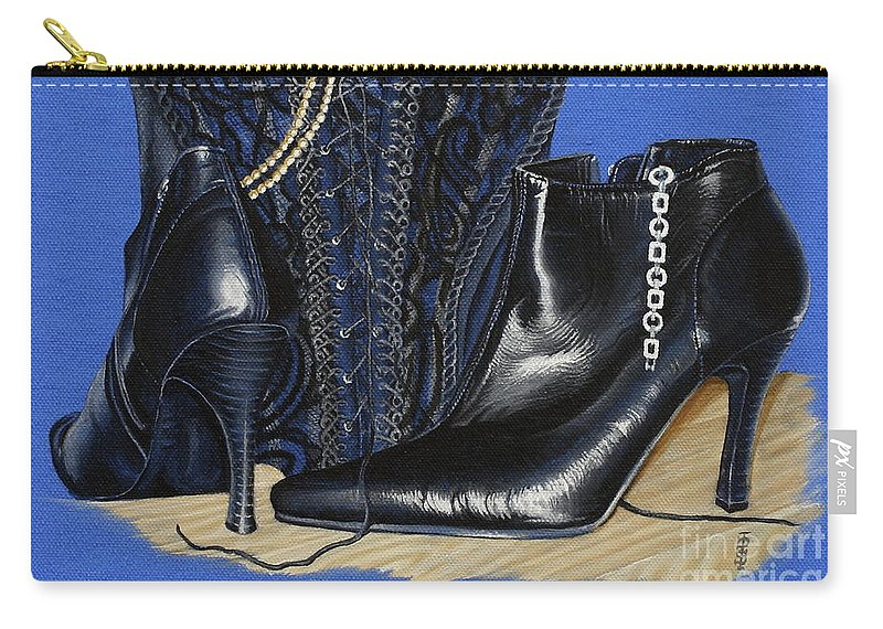 Baroque Still Life Boots Pearls Basque Bracelet Velvet Lace Black Heels Carry-all Pouch featuring the painting Baroque Still Life by Pauline Sharp
